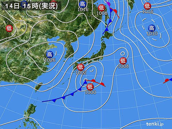 実況天気図(2016年03月14日)