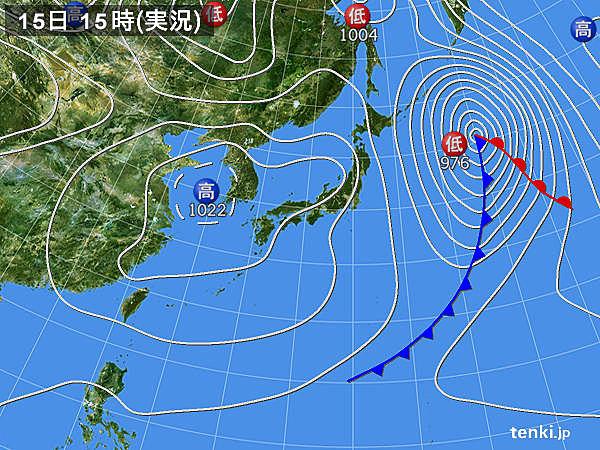 実況天気図(2016年03月15日)
