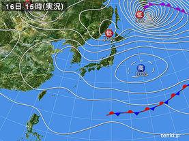 実況天気図(2016年03月16日)