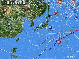実況天気図(2016年03月17日)