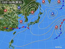 実況天気図(2016年03月18日)