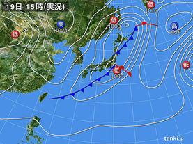 実況天気図(2016年03月19日)