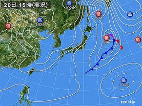 実況天気図(2016年03月20日)