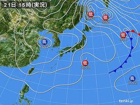 実況天気図(2016年03月21日)
