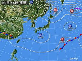 実況天気図(2016年03月22日)