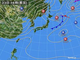 実況天気図(2016年03月23日)