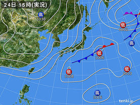 実況天気図(2016年03月24日)