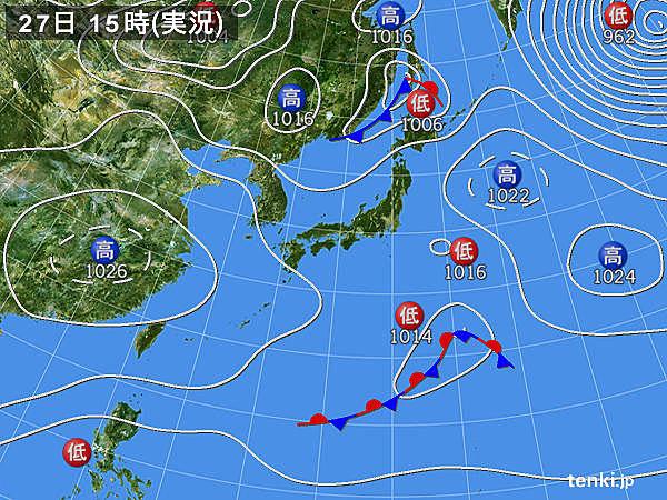 実況天気図(2016年03月27日)