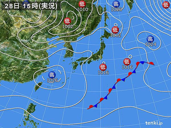 実況天気図(2016年03月28日)