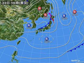 実況天気図(2016年03月30日)