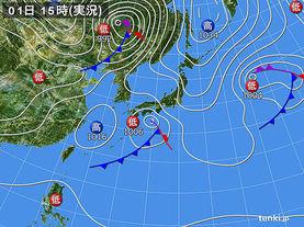 実況天気図(2016年04月01日)