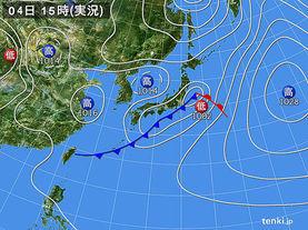 実況天気図(2016年04月04日)