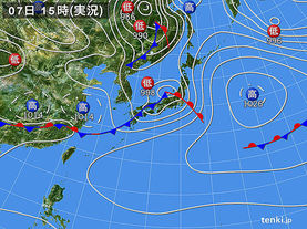 実況天気図(2016年04月07日)