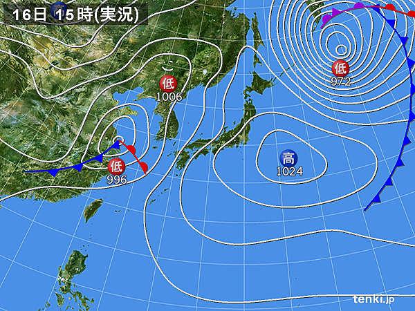 実況天気図(2016年04月16日)