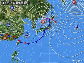 実況天気図(2016年04月17日)