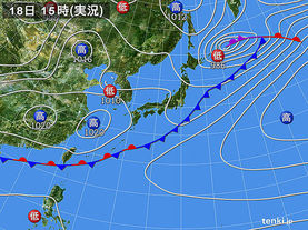 実況天気図(2016年04月18日)