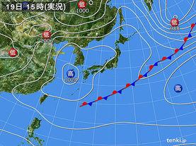 実況天気図(2016年04月19日)