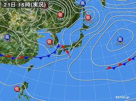 実況天気図(2016年04月21日)