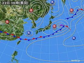 実況天気図(2016年04月22日)