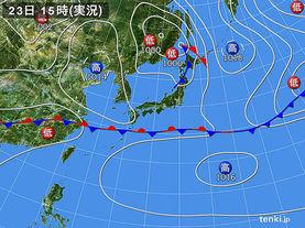 実況天気図(2016年04月23日)