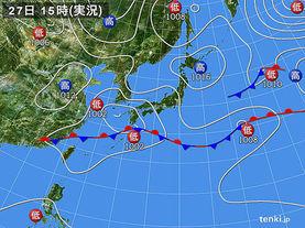 実況天気図(2016年04月27日)