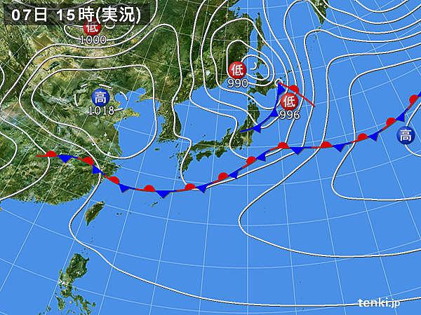 実況天気図(2016年05月07日)
