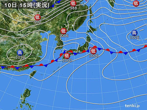 実況天気図(2016年05月10日)