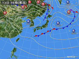 実況天気図(2016年05月13日)