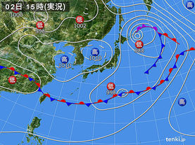 実況天気図(2016年06月02日)