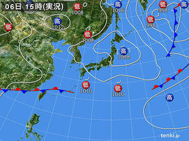 実況天気図(2016年06月06日)