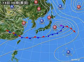 実況天気図(2016年06月14日)