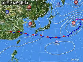 実況天気図(2016年06月15日)