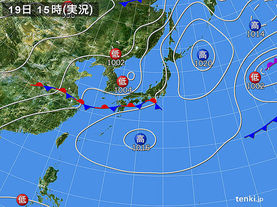 実況天気図(2016年06月19日)
