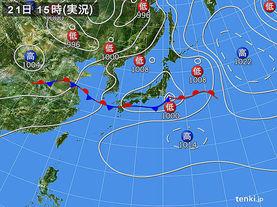 実況天気図(2016年06月21日)