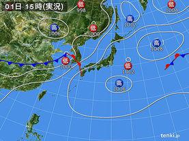 実況天気図(2016年07月01日)