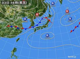 実況天気図(2016年07月02日)