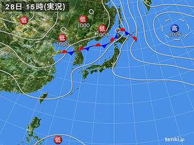 実況天気図(2016年07月28日)