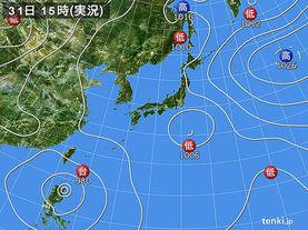 実況天気図(2016年07月31日)