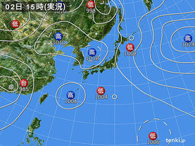 実況天気図(2016年08月02日)