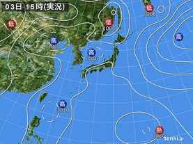 実況天気図(2016年08月03日)