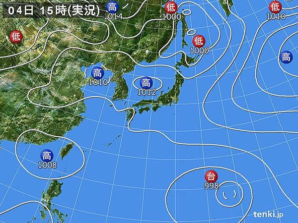 実況天気図(2016年08月04日)