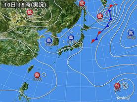 実況天気図(2016年08月10日)