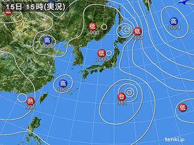 実況天気図(2016年08月15日)