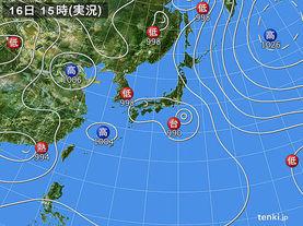 実況天気図(2016年08月16日)