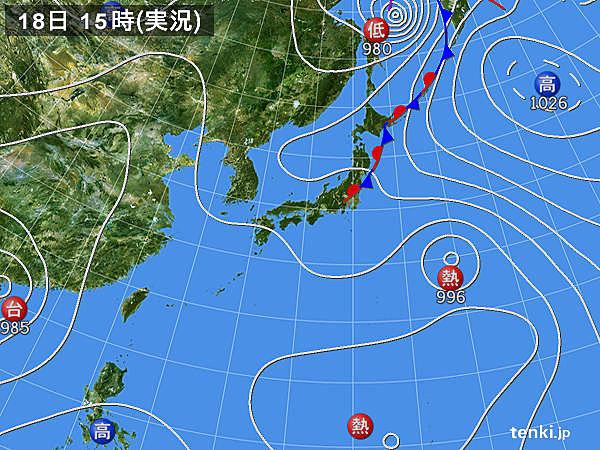 実況天気図(2016年08月18日)
