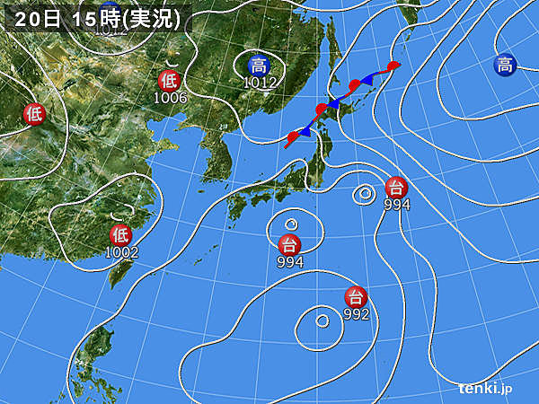 実況天気図(2016年08月20日)