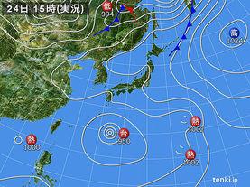 実況天気図(2016年08月24日)