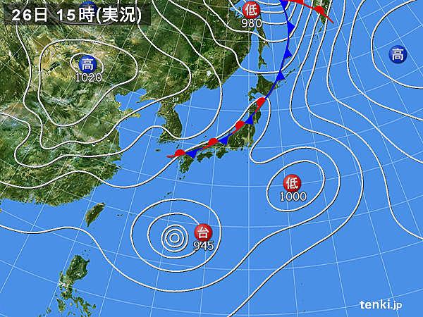 実況天気図(2016年08月26日)