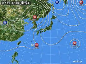 実況天気図(2016年09月01日)