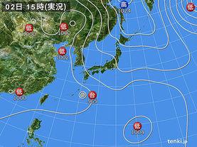 実況天気図(2016年09月02日)